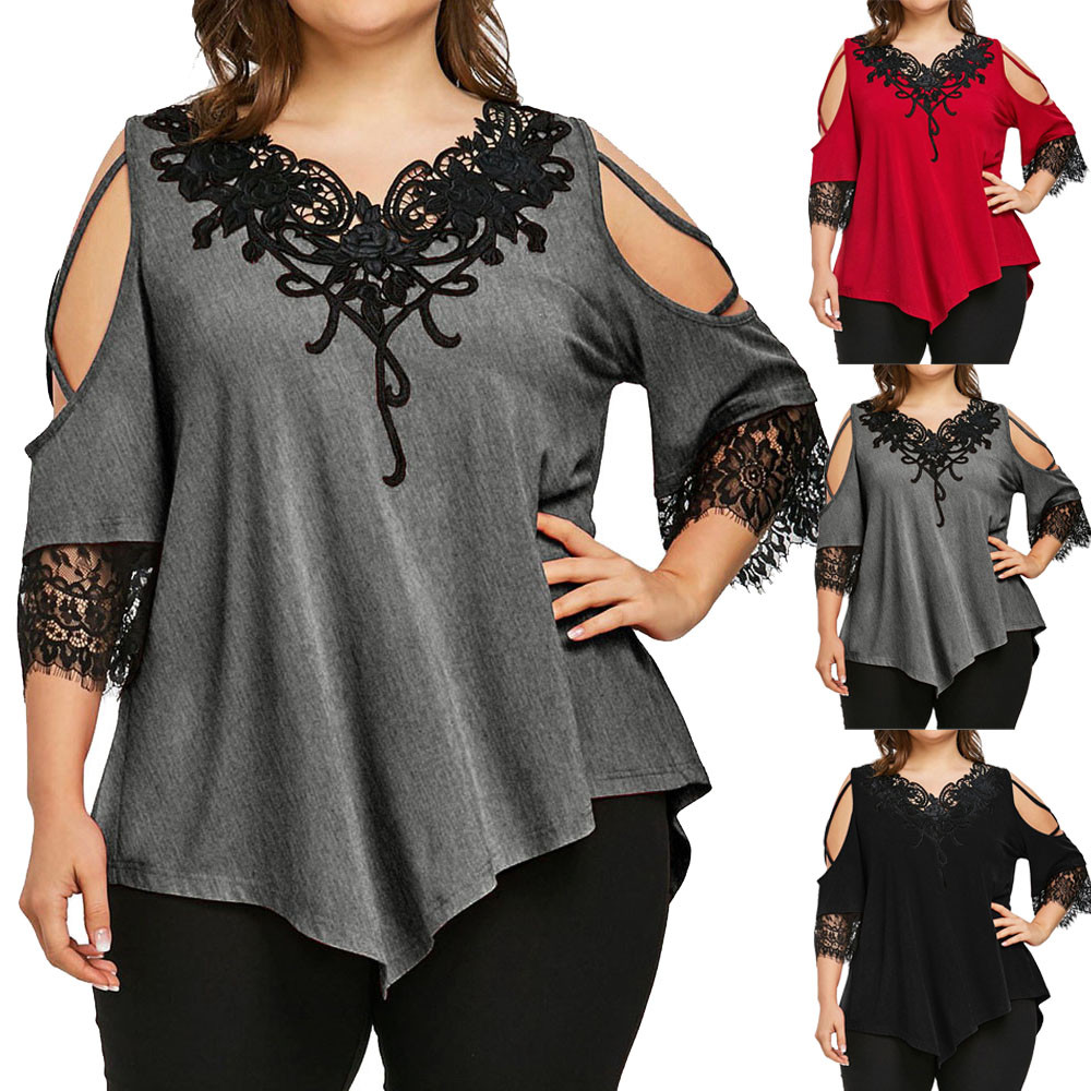 5xl Plus Size Lace Off Shoulder Blouse For Women Ptchwork V neck Short Sleeve Shirt Casual Hollow Out Tunic Tops Рубашка Женская