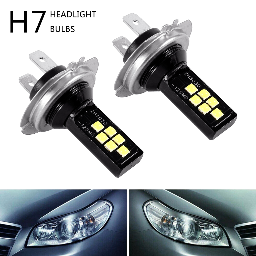 2PCS H7 LED Car Anti-fog Light Bulb 12W 6000K 1200LM Headlight Bulbs 12SMD 3030 Led Motorcycle Signal Lamp Car Accessories