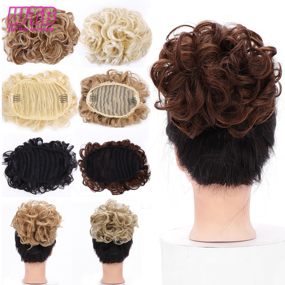 WTB 8 Colors Short Curly Synthetic Chignon Women's Rubber Band Comb Clip In Hair Extension Hairpiece Accessories