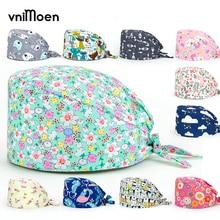 Scrub-Hat Farmacia Salon Laboratory Beauty Enfermera Cartoon Fashion Multicolor Printing-Hat