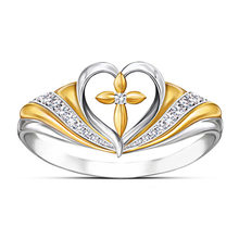 New Cross Love Heart Shaped Micro Inlay Ring Silver Plated Two Color Women Ring(China)