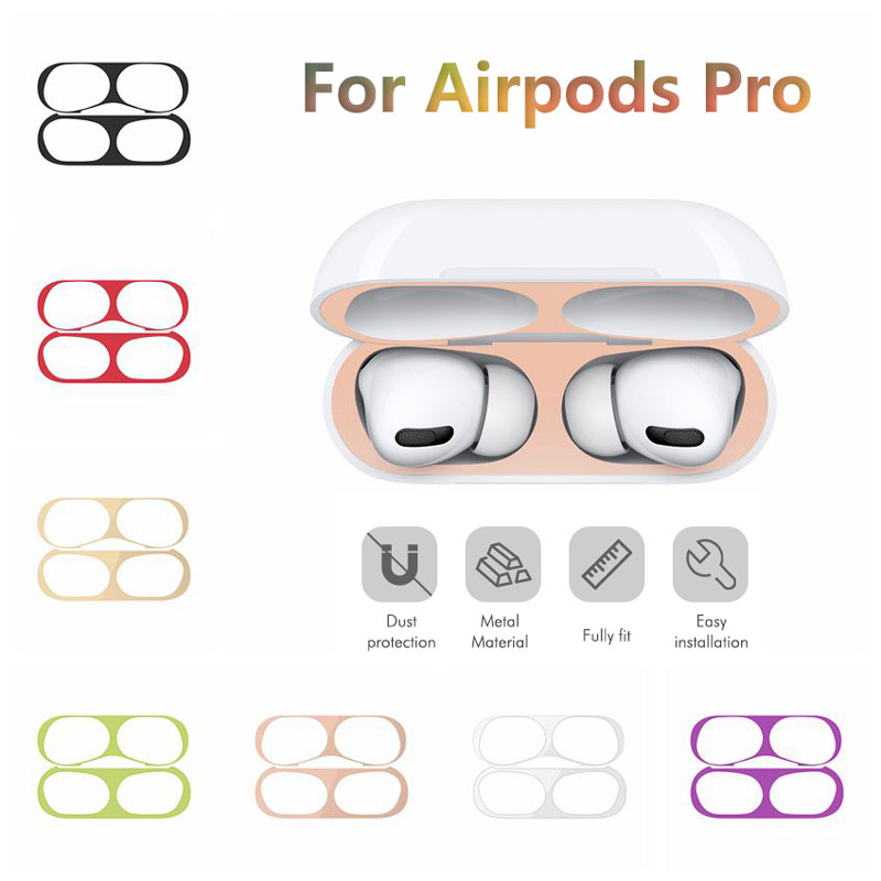 Ultra Thin Skin Protective Cover Metal Film Sticker Iron Shavings Dust Guard For AirPods Pro Dust-proof Protective Film Air Pods