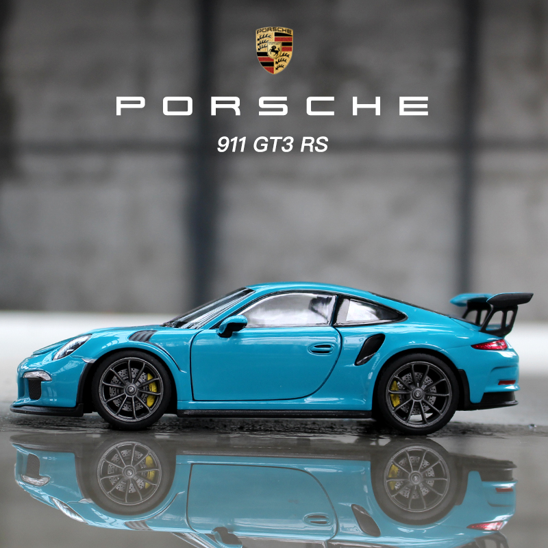 Welly 1:24  Porsche 911 GT3 RS Blue Car  Alloy Car Model Simulation Car Decoration Collection Gift Toy Die Casting Model Boy Toy