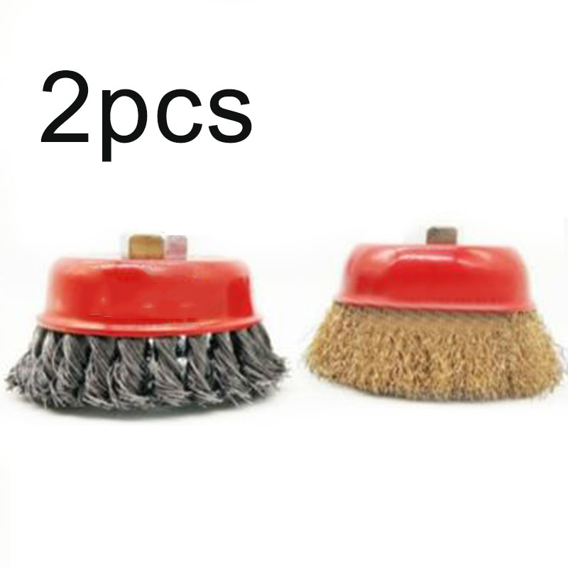 2pcs/Set Wire Cup Brush Wheel 3 (75mm) For 4-1/2 (115mm) Angle Grinder