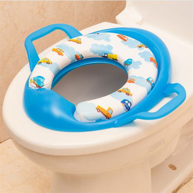 Baby Potty seat Soft Toilet Training Cartoon Seat Children Trainer With Handle WC Assistant Potty Toilet Pad Portable Cute Kids image