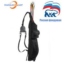Huntingdoor soporte para flecha para caza con arco, para exteriores, con arco, bandolera trasera, con bolsillo con cremallera