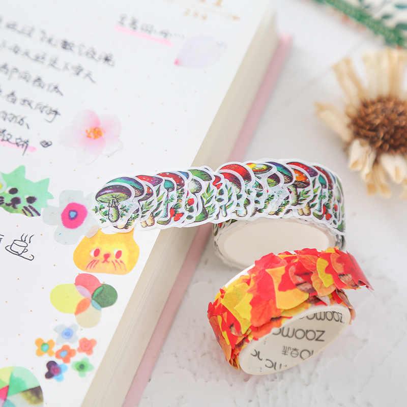 1 chiếc Băng Trang Trí Mặt Nạ Băng Mèo Hoạt Hình Hoa Washi Băng Thêu Sò Nhật Ký GiấY Dán Văn Phòng Phẩm Kawaii