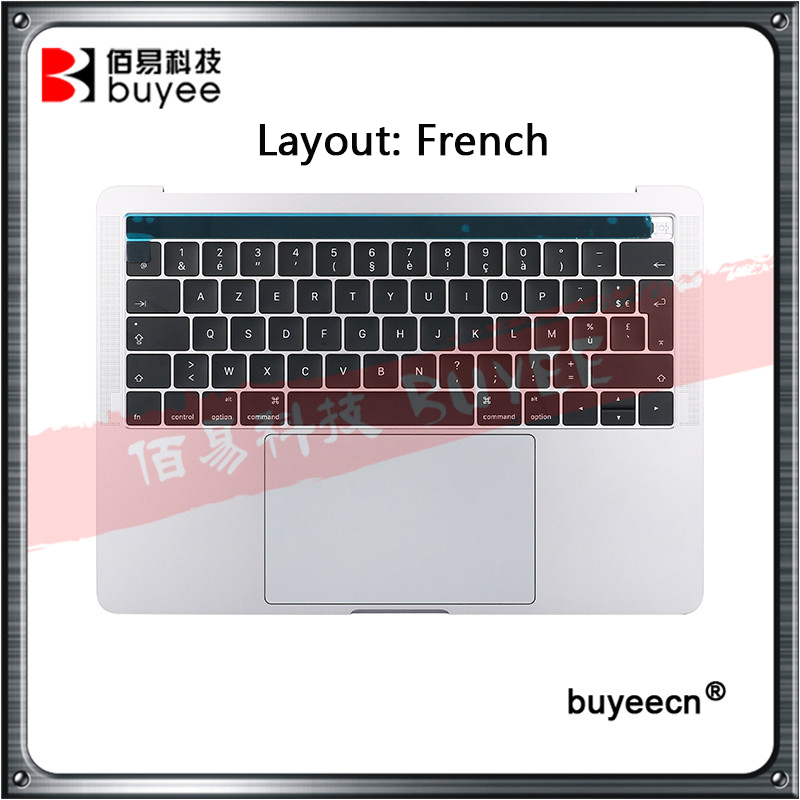 NEW Original A1706 Topcase French Keyboard Trackpad For Macbook Retina Pro 13 A1706 Palm Rest Francais 2016 Space Grey Silver image