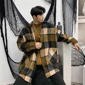 Lattice Men's Loose Coat Plaid Men Autumn Long Sleeve Button Down Vintage Mens Casual Shirt Camicia Uomo