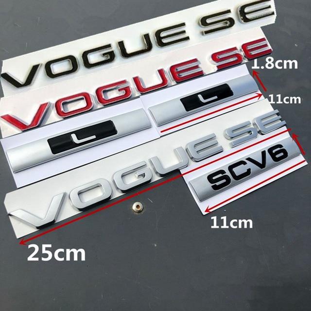L SDV8 SCV6 Emblem Letter Bar For Range Rover VOGUE VOGUESE Extended Executive Edition Car Side edge Badge Trunk Styling Sticker
