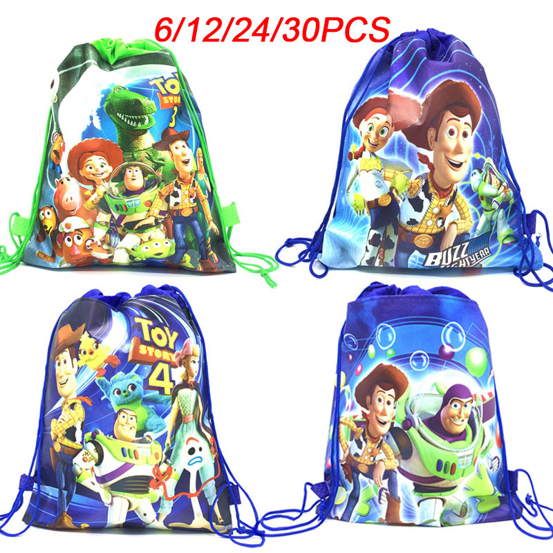 6/12/24/30PCS Disney Toy Story Theme Drawstring Bag Children Travel School Bag Birthday Party Decor Non-woven Fabric Gift Bags