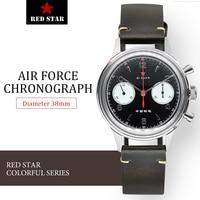 38 مللي متر أسود 1963 الطيار ساعة كرونوغراف الرجال ST19 النورس حركة الاكريليك/الياقوت ساعة سلاح الجو العسكرية ساعة رجالي الأحمر ستار
