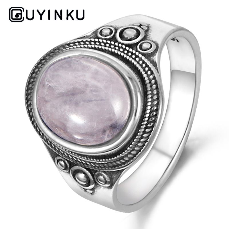 GUYINKU Natural Rose Quartz Rings 925 Sterling Silver Gemstone Rings For Women Mother's Day Gift June Birthstone Can Customize