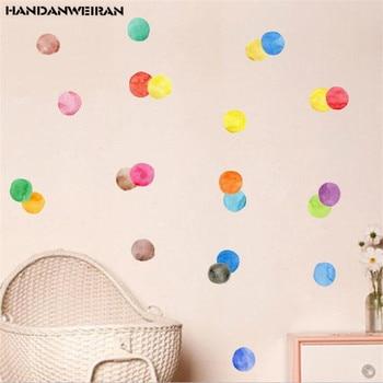 29 Uds. Pegatinas de pared de puntos de Color para habitación de niños armario de pegatinas de pared de dibujos animados pegatinas de refrigerador decoración del hogar 22*16 CM