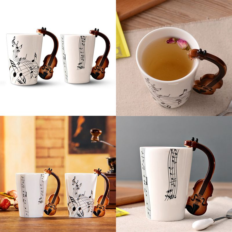 Set 4 Mixed Ceramic Novelty Mugs Lid Spoon Teacup Serving Coffee Cup Mugs style