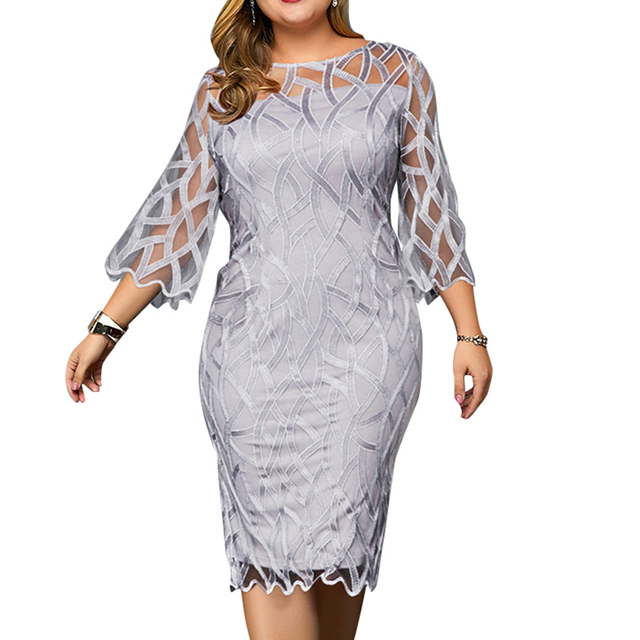 6XL Elegant Women Dress Plus Size Transparent Seven Sleeve Party Dress Autumn Ladies Knee-Length Dress Fall Retro vestidos D30
