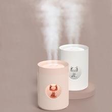 جهاز تنقية الهواء بالموجات فوق الصوتية 800 مللي ثنائي الفوهة لطيف القط المحمولة USB ناشر رائحة LED مصباح الهواء ضباب صانع المرطب