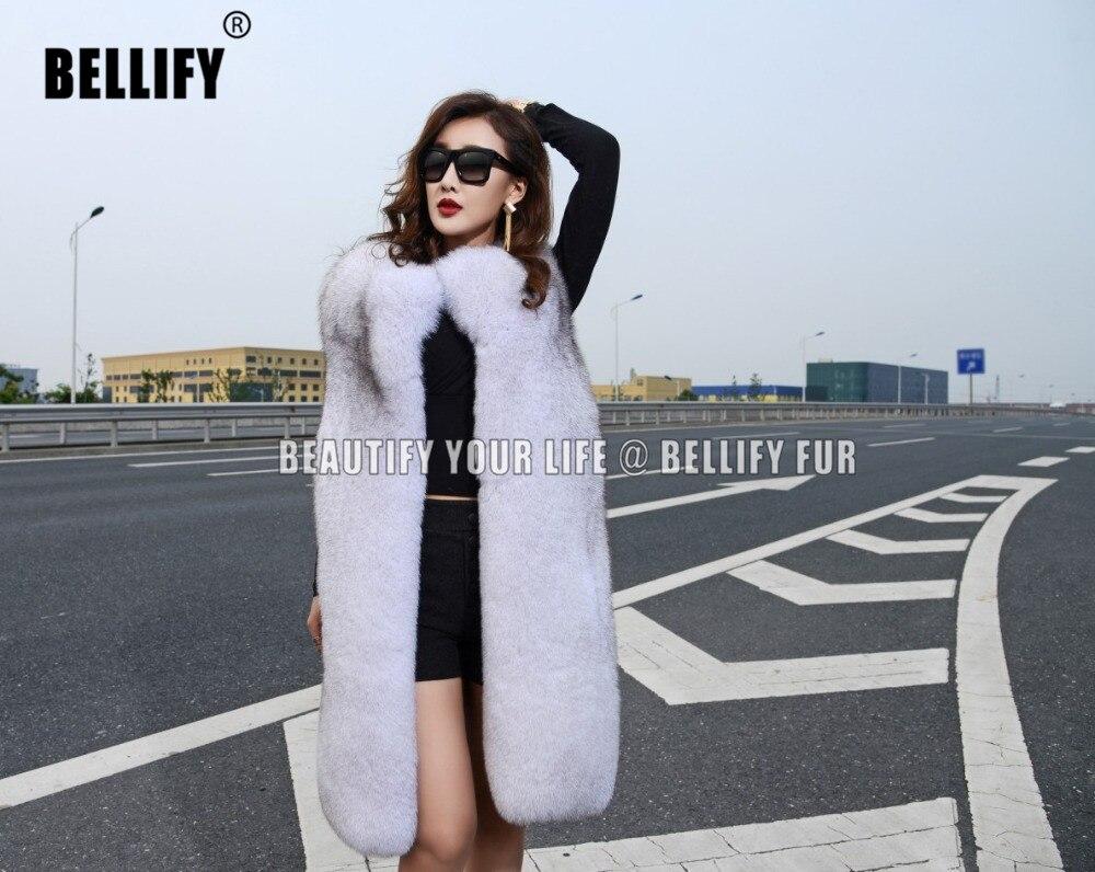 Nové bílé zimní teplé oblečení módní styl dlouhý design vnější oblečení přírodní liščí kožich