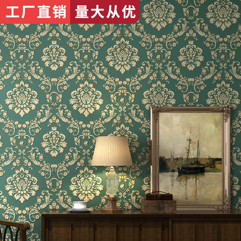European Style Thick 3D Non-woven Wallpaper Bluish Green Hotel Living Room Bedroom TV Background Wallpaper Wholesale