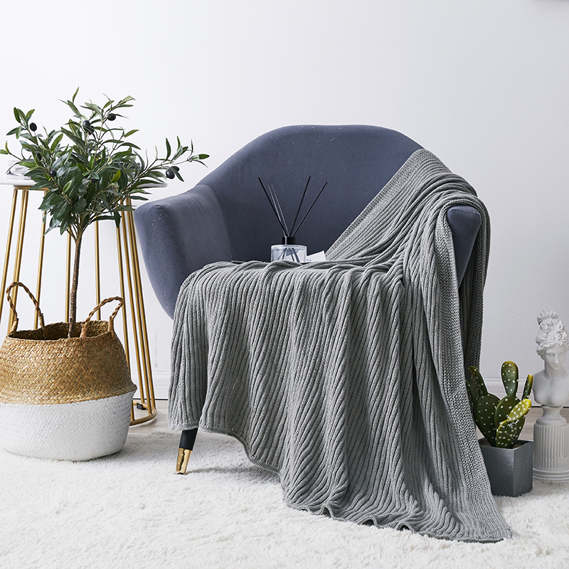 Grey Blanket Sofa Knit Throw Blanket Yellow Soft Stripe Cable knit Blanket Travel 130x180cm Home Sofa Chair Couch Bed <font><b>50</b></font>