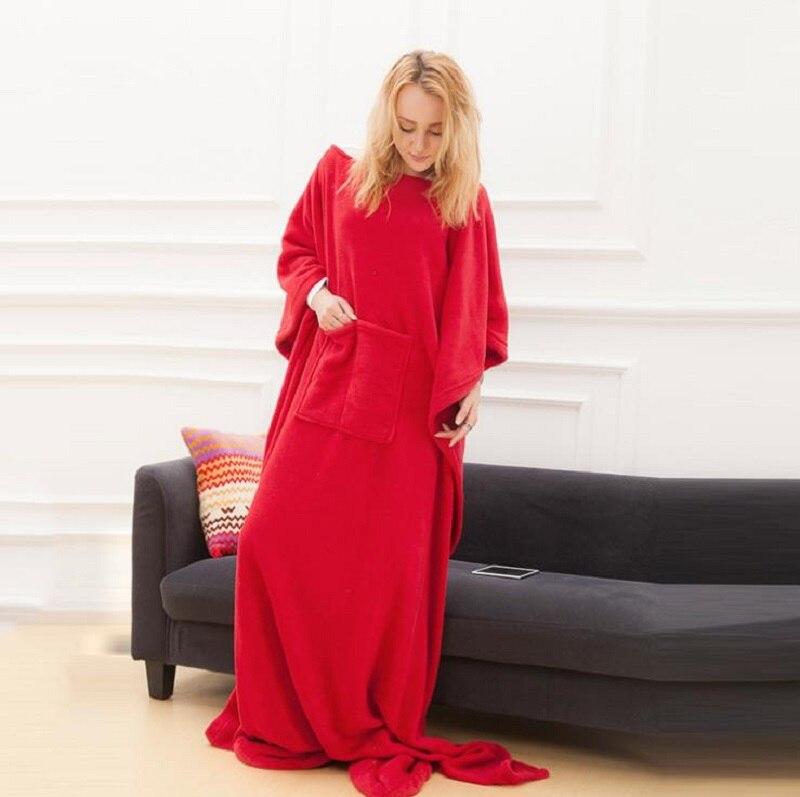 Image 3 - Winter Hooded Pocket Blankets Warm Soft Hoodie Slant Robe Bathrobe Pullover TV Flannel Fleece Blanket Sweatshirt With SleevesBlankets   -