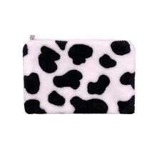 1pc padrão de vaca de pelúcia moedas bolsas mini moeda carteira de armazenamento titular do cartão de crédito id carteira bolso feminino meninas bolsa de moedas do sexo feminino