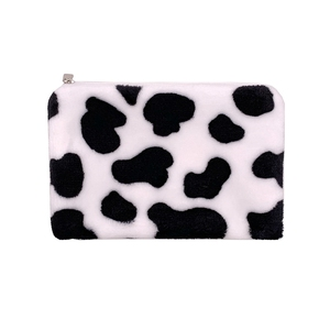 1PC Cow Pattern Plush Coin Purses Mini Coin Wallet Storage Bag Card Holder Credit ID Wallet Pocket Women Girls Female Coin Purse(China)