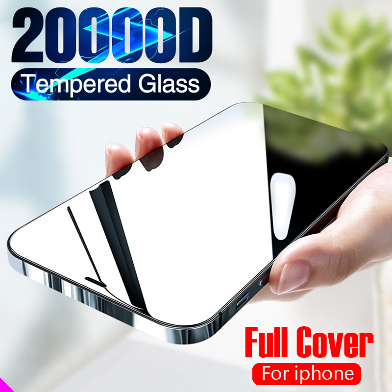 2pcs Full Cover Glass on the For iPhone X XS Max XR 12 Tempered Glass For iPhone 7 8 6 6s Plus SE 2020 11 Pro Screen Protector 1