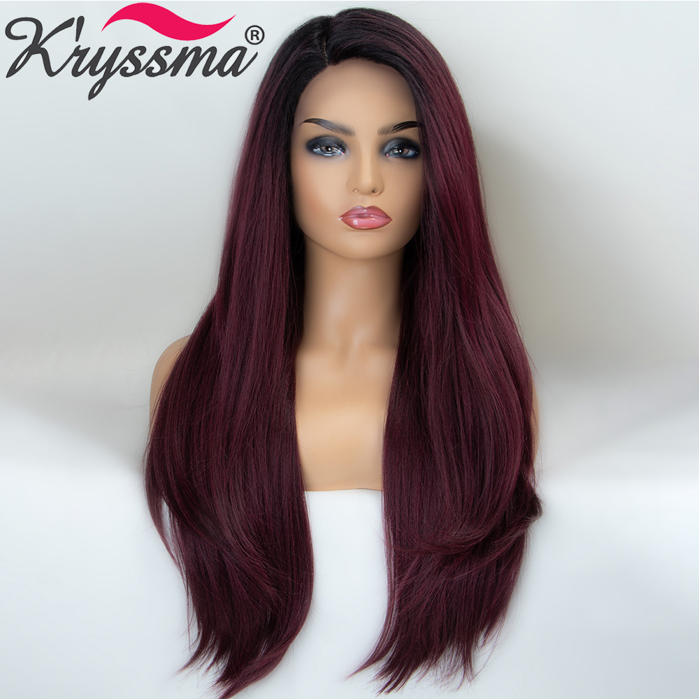 Kryssma Synthetic Lace Front Wigs Ombre Dark Red Wigs For Black Women Long Straight Wig Heat Resistant Fiber Cosplay Wig