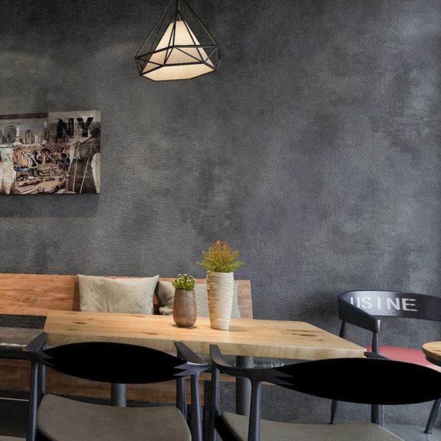 Dark Gray Vintage Vinyl Concrete Wall Effect Wallpaper Retro Plain Texture PVC Wall Paper Bedroom Living Room Background Decor