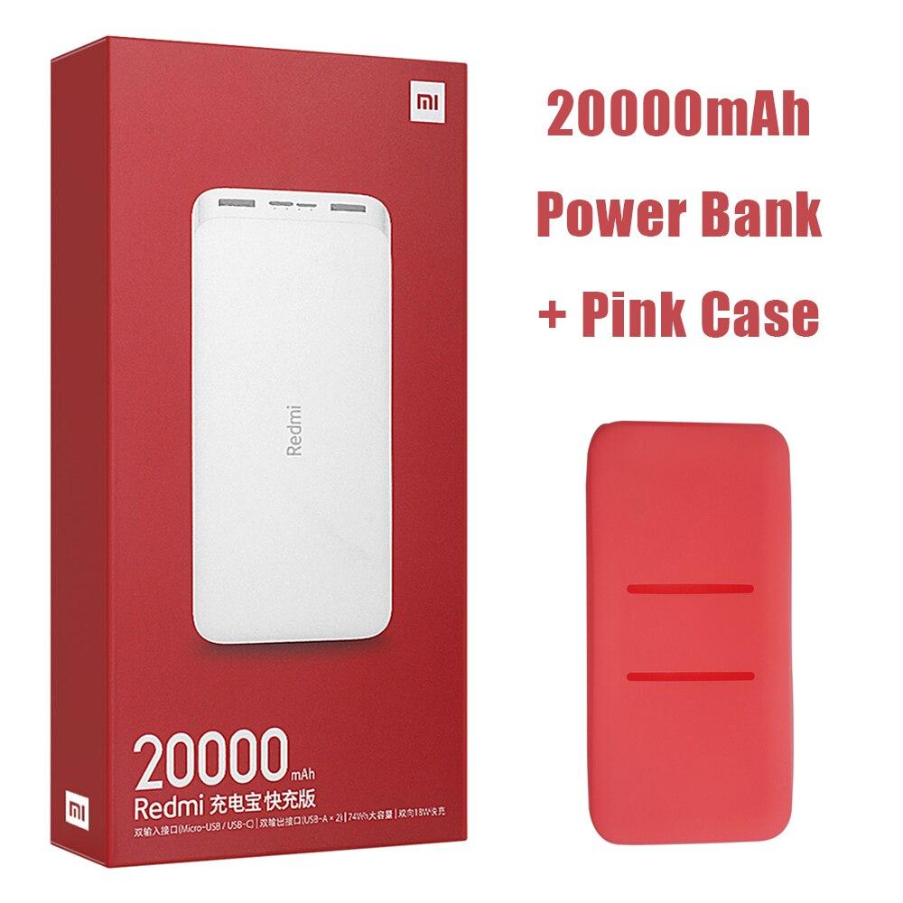 Новейший Xiaomi Redmi внешний аккумулятор 20000 мАч 18 Вт Быстрая зарядка 10000 мАч Внешний аккумулятор быстрая зарядка портативное зарядное устройство - Цвет: 20000mAh Add Pink