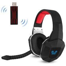 7.1 sem fio fone de ouvido 2.4ghz com cancelamento de ruído óptico fones de ouvido estéreo para jogos, pc, ps4, com 7.1 som surround