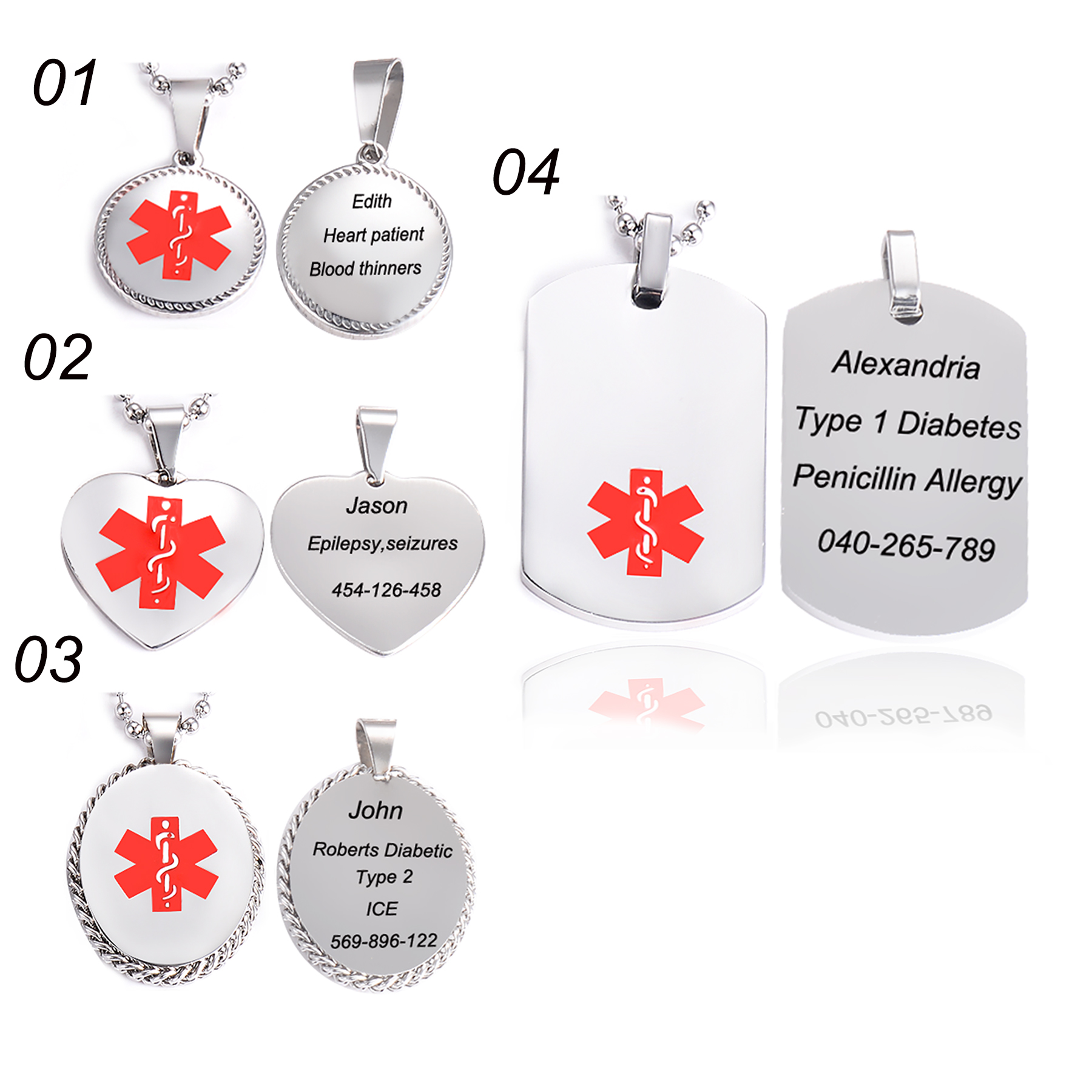 TYPE 1 DIABETES Unisex Medical Alert ID Pendant Necklace Chain Oval Tag Jewlery