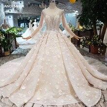 Robe de mariée luxueuse faite à la main, col rond, manches longues en tulle, corset à fleurs 3D, robe de mariée avec traîne, HTL256G, 2020