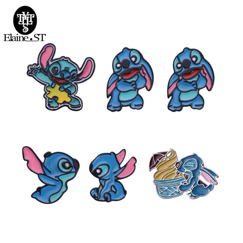 4 Gaya Kawaii Stitch Lilo Alien Lucu Logam Enamel Pin dan Bros untuk Wanita Pria Lapel Pin Tas Ransel Lencana anak-anak Hadiah