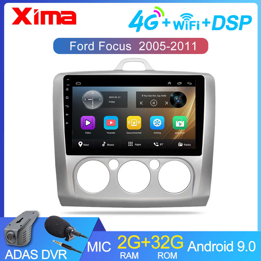 9 Inch Android 9.0 Car Radio DVD Player untuk Ford Fokus EXI Mt 2 3 Mk2 2004 2005 2006 2007 -2011 2Din GPS Multimedia Player