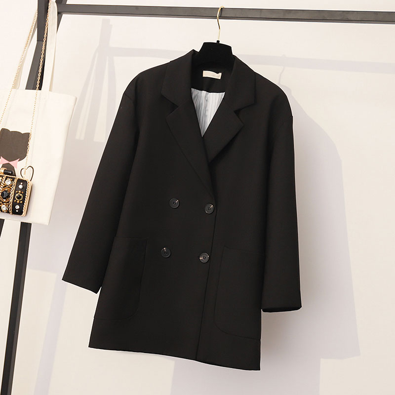 Plus Size 4XL Loose Double Breasted Women Black Blazer Pockets Jacket Female Retro Suits Coat Feminino OL Blazers Outerwear WB30