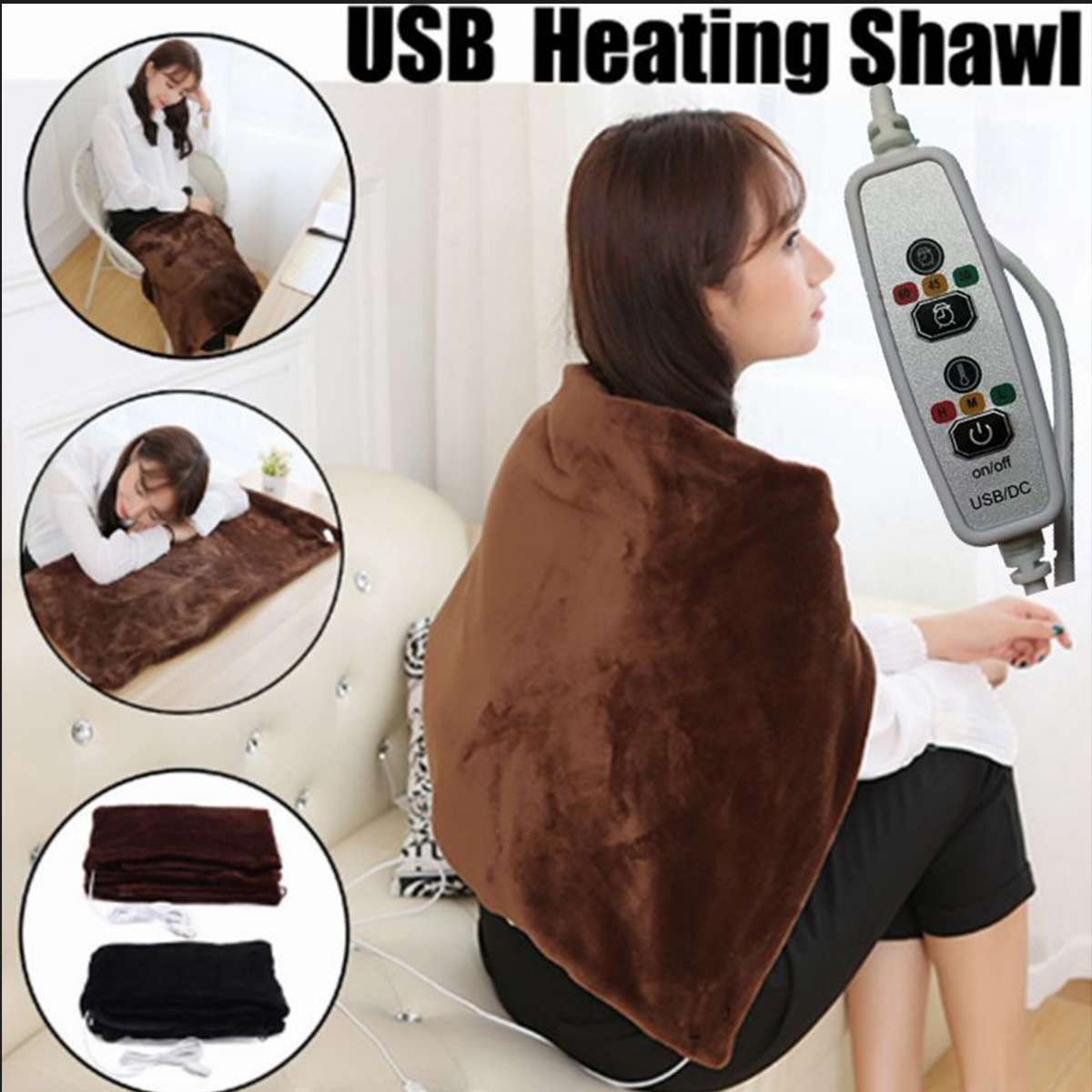5V 4W 45x80cm Adjustable Temperature Electric Heating Shawl Winter Warm Electric Heating Shoulder Neck USB Power Heating Blanket