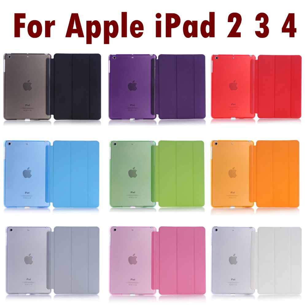 Smart Cover For iPad 4 3 2 Ultra Slim Flip PU Leather Case + PC translucent back case for Apple ipad 2 3 4 #N image