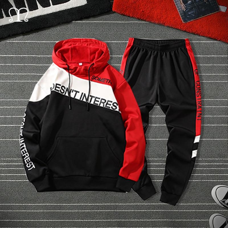 Tracksuit Men Two Pieces Set Fashion Mens Sportswear Hip Hop Hoodie Pants Male Sweatsuit Clothes Ropa Hombre 2020 Plus Size 4XL