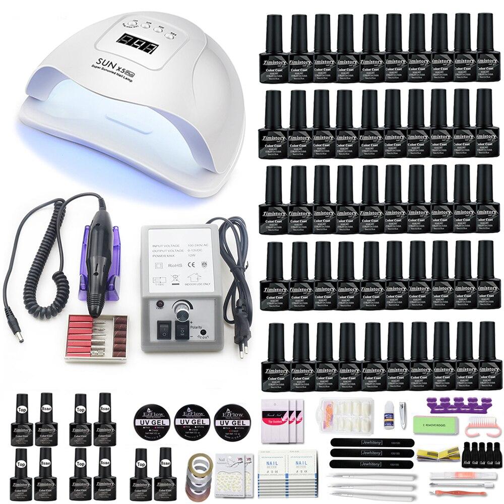 50/40/30/20/10 smalto per unghie con smalto Gel colorato con 120w/72W/54W UV LED asciugacapelli e trapano per unghie per set di nail art