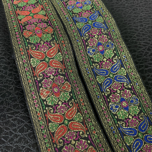 ZERZEEMOOY 2 inch 5cm 2M High Quality Colorful Flower Lace Fabric Wedding Dress Lace Applique Gold Thread Embroidery Ribbon(China)