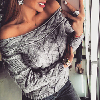 Women Sweater Autumn Winter 2020 Sexy Off Shoulder Knitted Sweaters Casual Knitwear Fashion Long Sleeve Pullovers Loose Jumper danjeaner long sleeve sweaters women 2018 autumn sexy off shoulder wrap knitted sweaters tops v neck slim pullovers jumper shawl