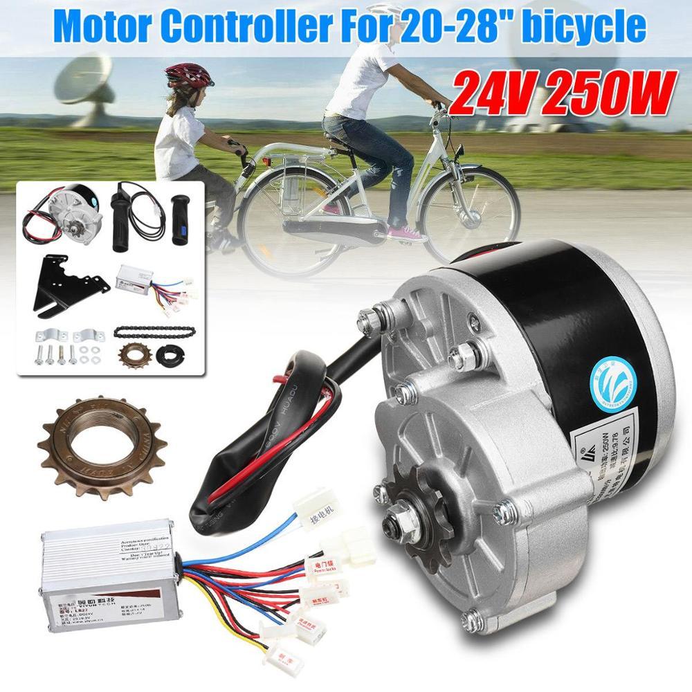 24V 250W Electric Bike Conversion Kit Motor Controller Flywheel Handle Motor Bracket Chain For 20-28 Inch E-bike Bicycle Kit Set