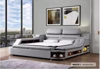 High Quality Genuine leather bed frame Soft Beds massager storage safe for bedroom