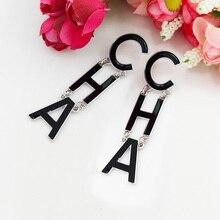 Drop Letter Earrings for Women Fashion Jewelry Oorbellen Drip Oil Long Lady Luxury Party Gifts