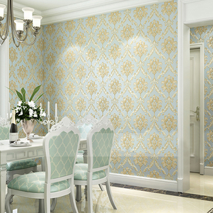 Image 4 - European Style PVC Waterproof Wallpaper Luxury Damask 3D Stereoscopic Relief Damascus Bedroom Living Room Wall Paper Home Decor