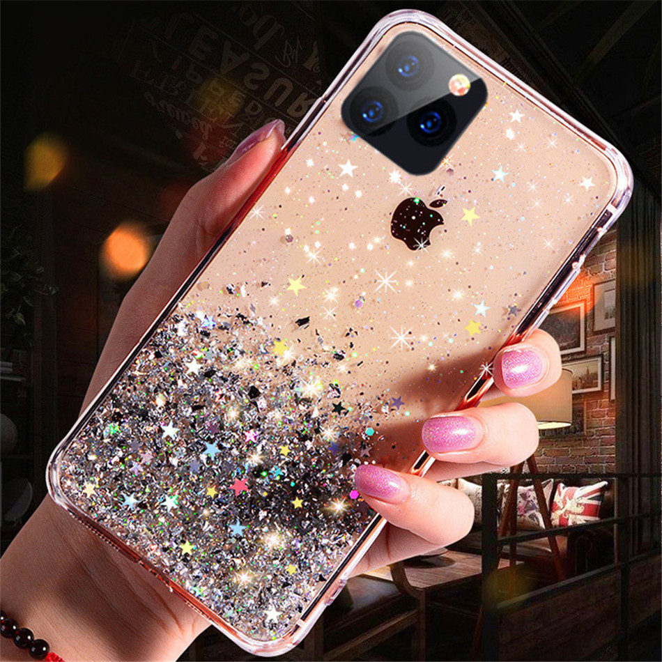 Hd312ab6683004a08aa218cf6815acbb4L - iPWSOO Glitter Foil Powder Case For iPhone 11 Pro XS Max XR X Bling Phone Case For iPhone 11 8 7 6 6s Plus Soft TPU Clear Cover