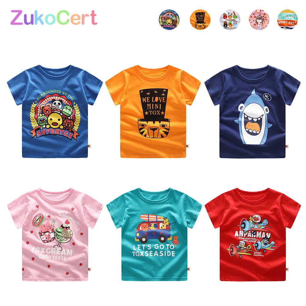 Zukocertボーイズtシャツ子供の半袖プリントコットンoネックプルオーバーtシャツユニセックス子供トップス半袖夏tシャツ