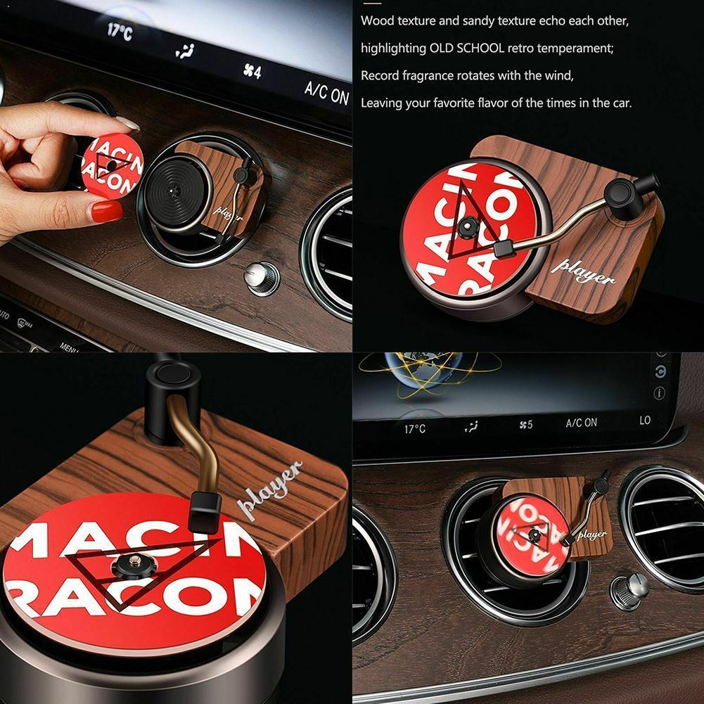 Car Air Freshener Turntable Phonograph Car Fragrance Perfume Aroma Replace Diffuser Tablets with 3pcs Aromatherapy S6S2
